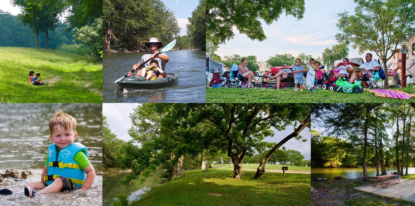 Collage of people enjoying sitting in a field, kayaking, sitting next to RV hookups, playing in the river, and river side BBQ pits and picnic tables